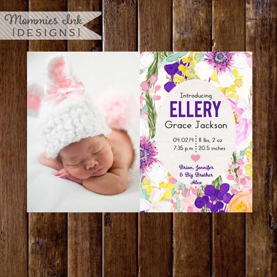 Birth Announcement, Watercolor Flowers Announcement, Floral