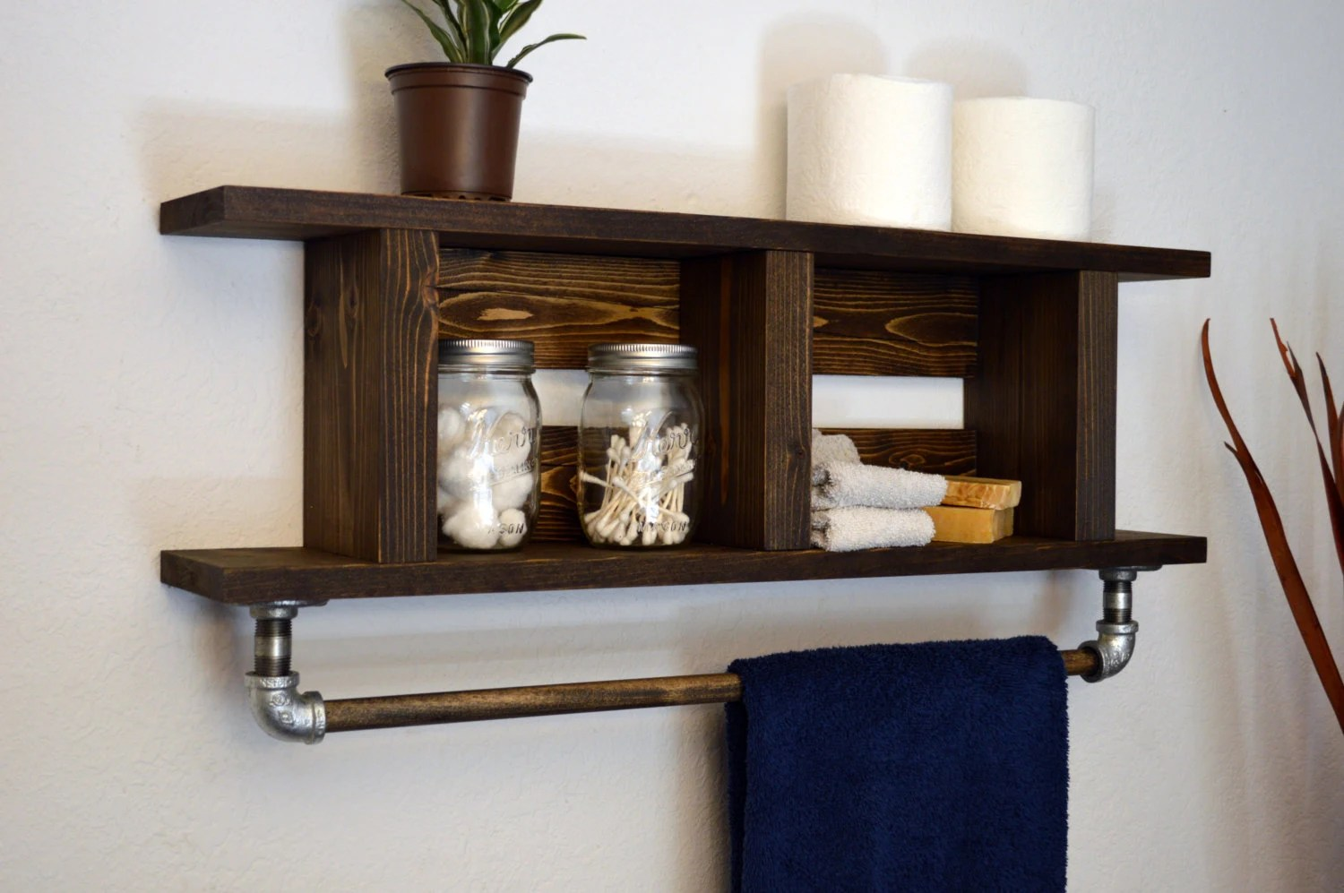 Holz Handtuchhalter Rustic Modern Bathroom Wood Towel Bar 2 Tier By