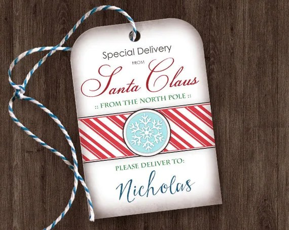 Printable Gift Tags from Santa - Special Delivery from Santa Claus