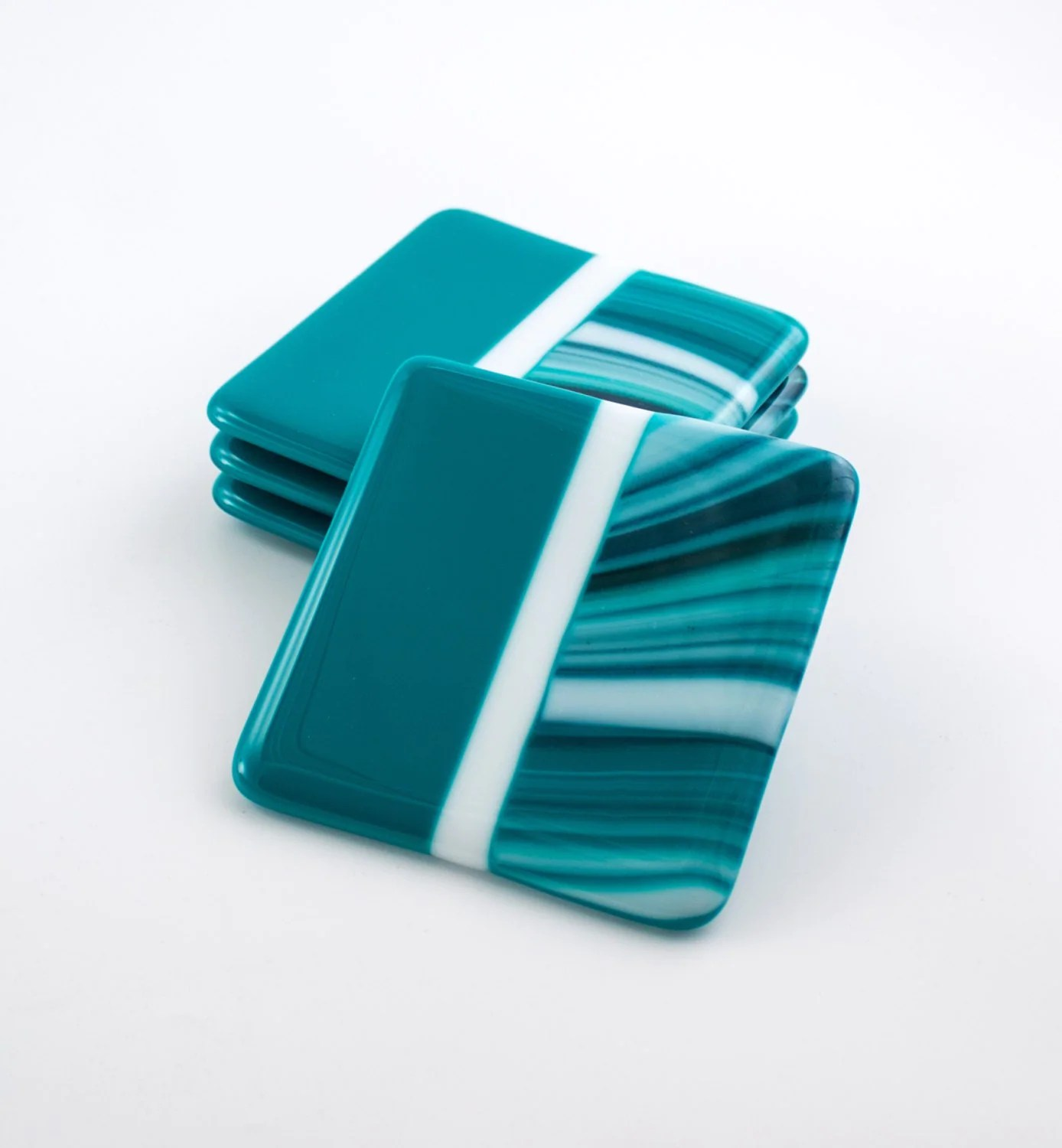 Cool Bar Coasters Fused Glass Coasters Set Of 4 Teal Home Decor By
