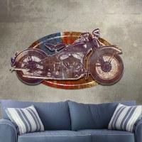 Metal Wall Art Vintage Motorcycle Sculpture