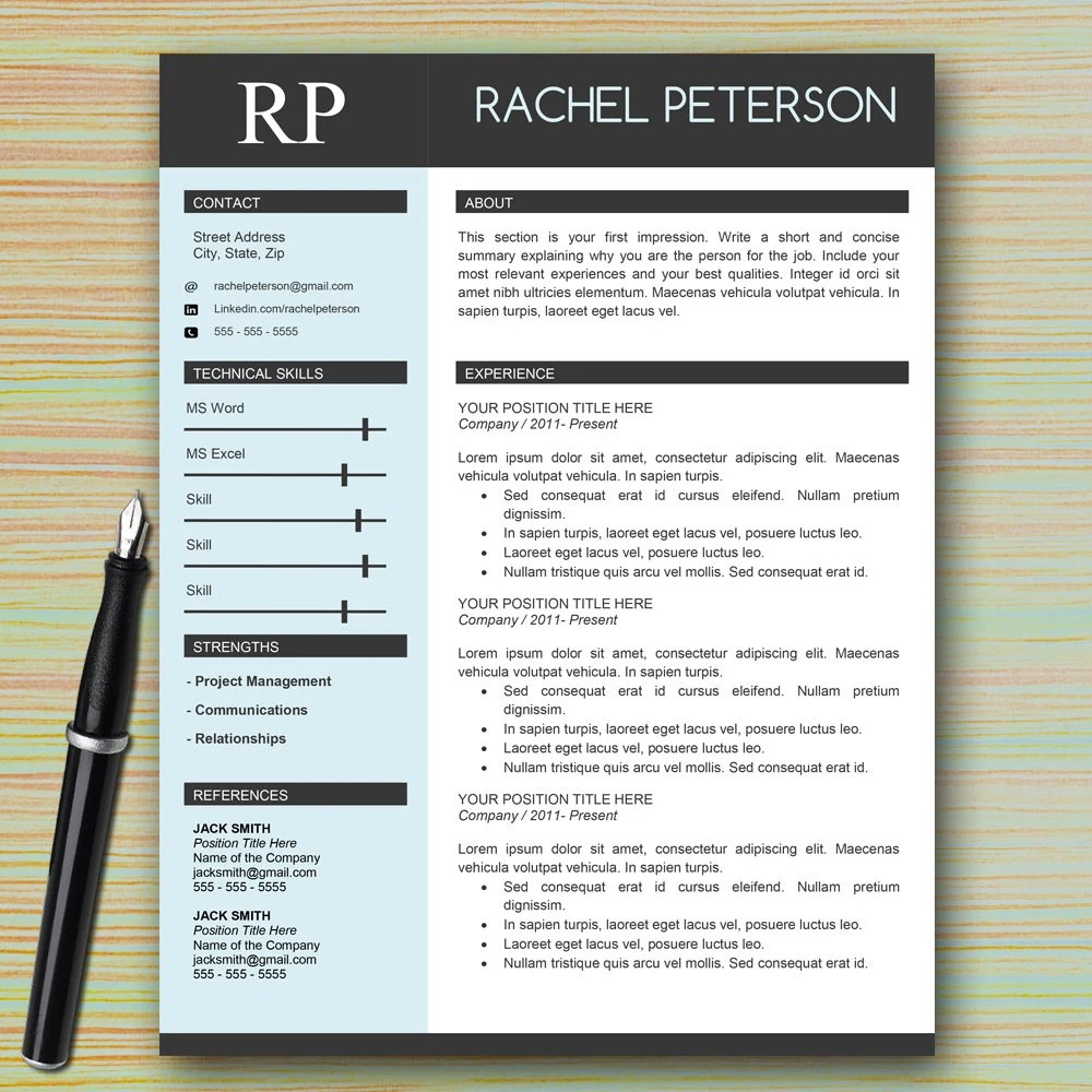 one page professional resume template