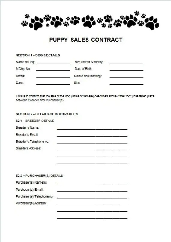 puppy sale contract template - Onwebioinnovate - puppy sales contract