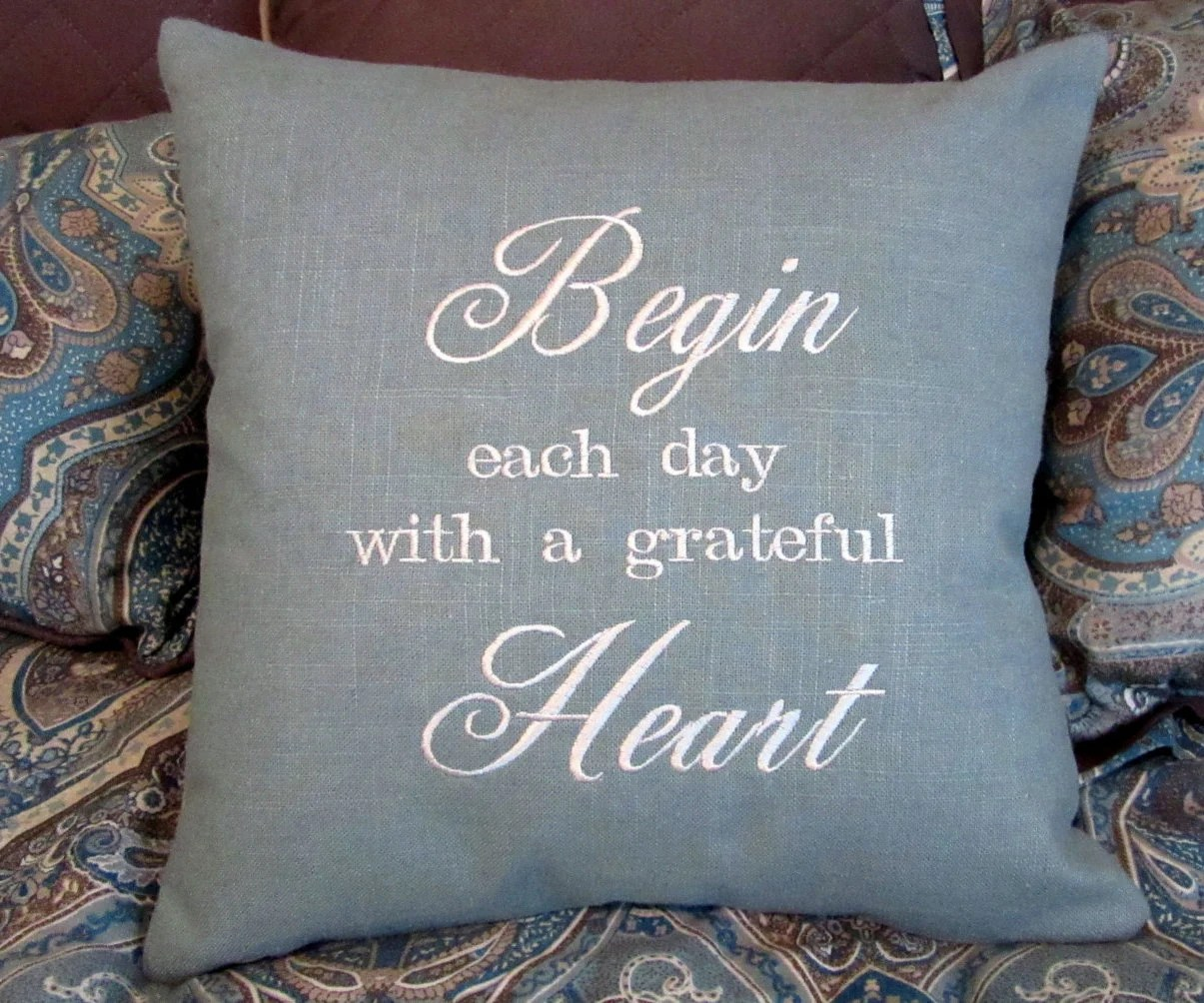 Embroidered Pillow Decorative Pillow Quote Pillow Sayings