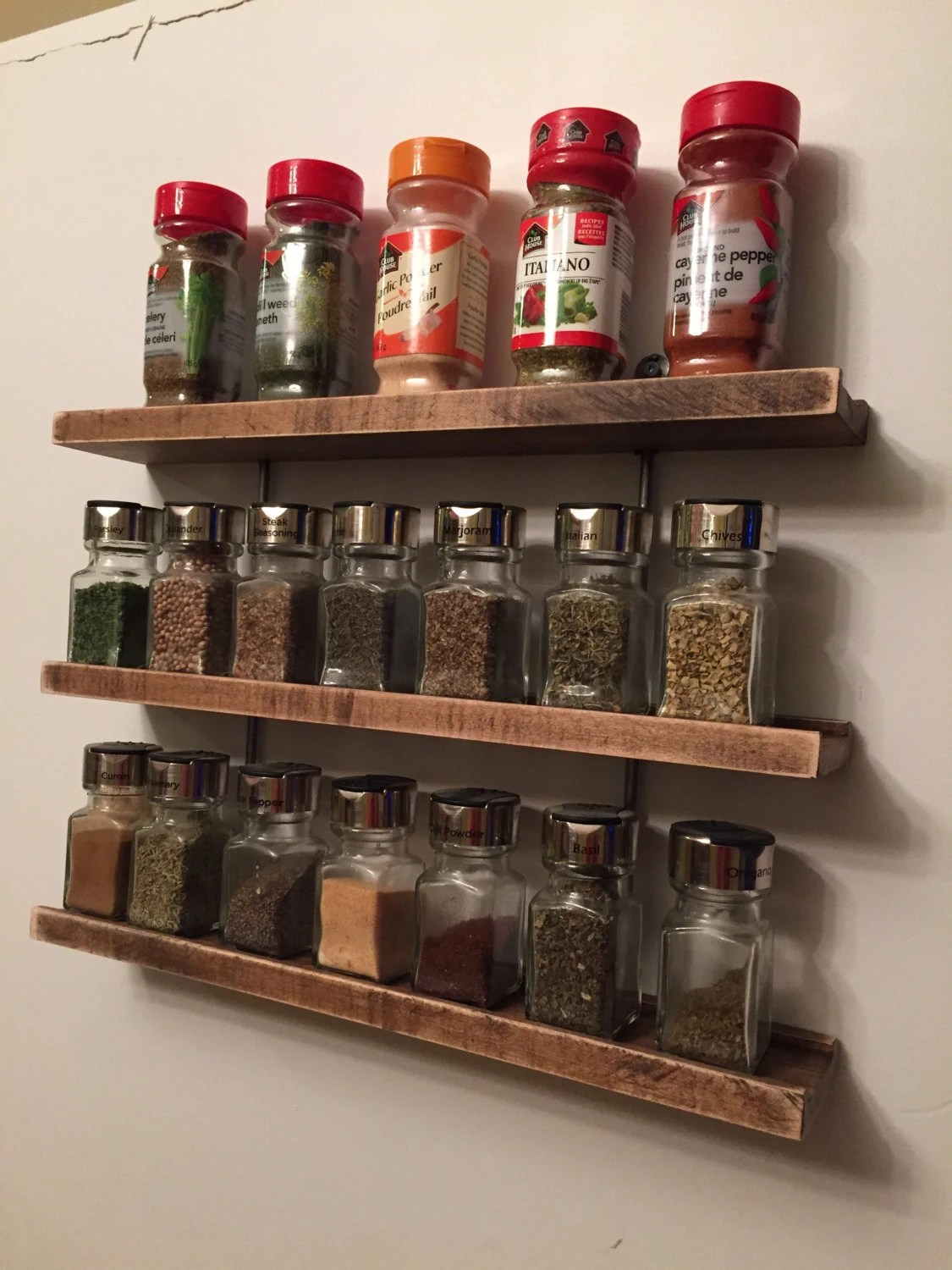 Modern Wood And Metal Hanging Spice Rack By Grandadsfurniture