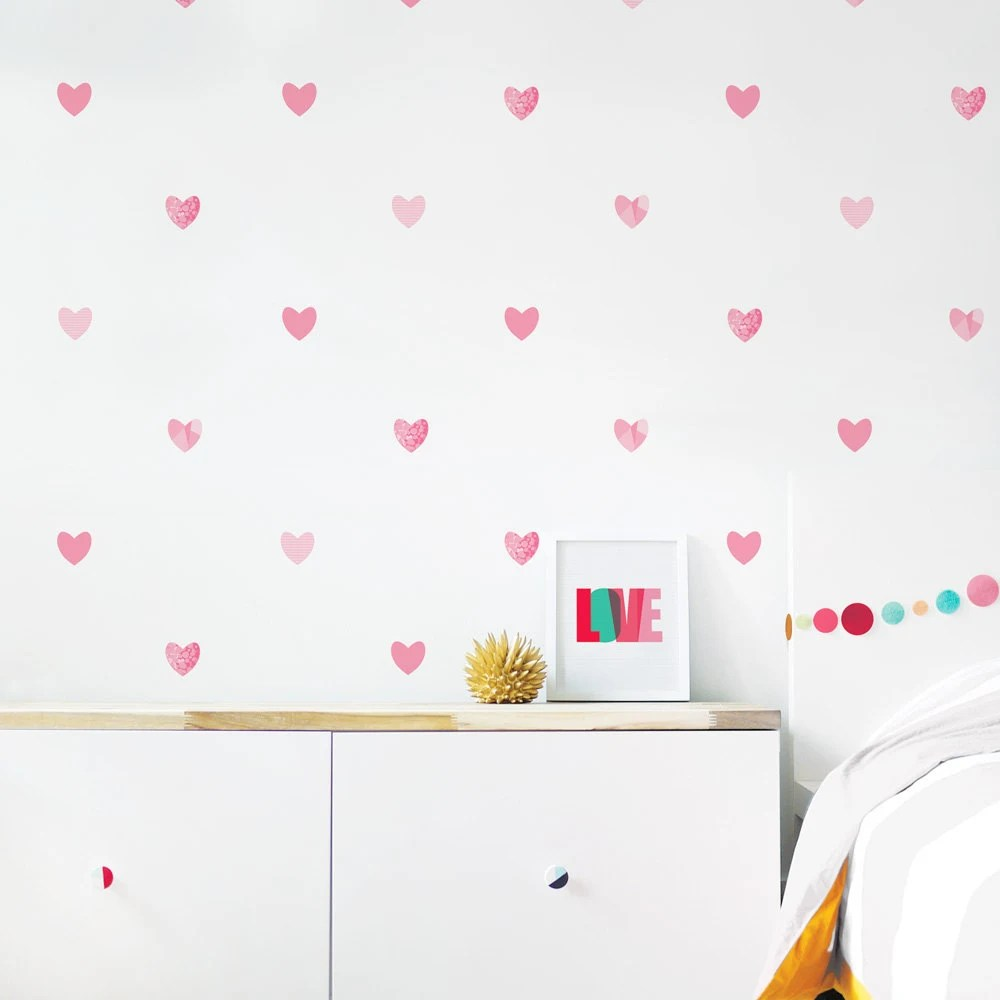 Pale Pink Wallpaper For Girl Nursery Hearts Wall Decal Girl Room Decor Valentines Heart Wall Decor