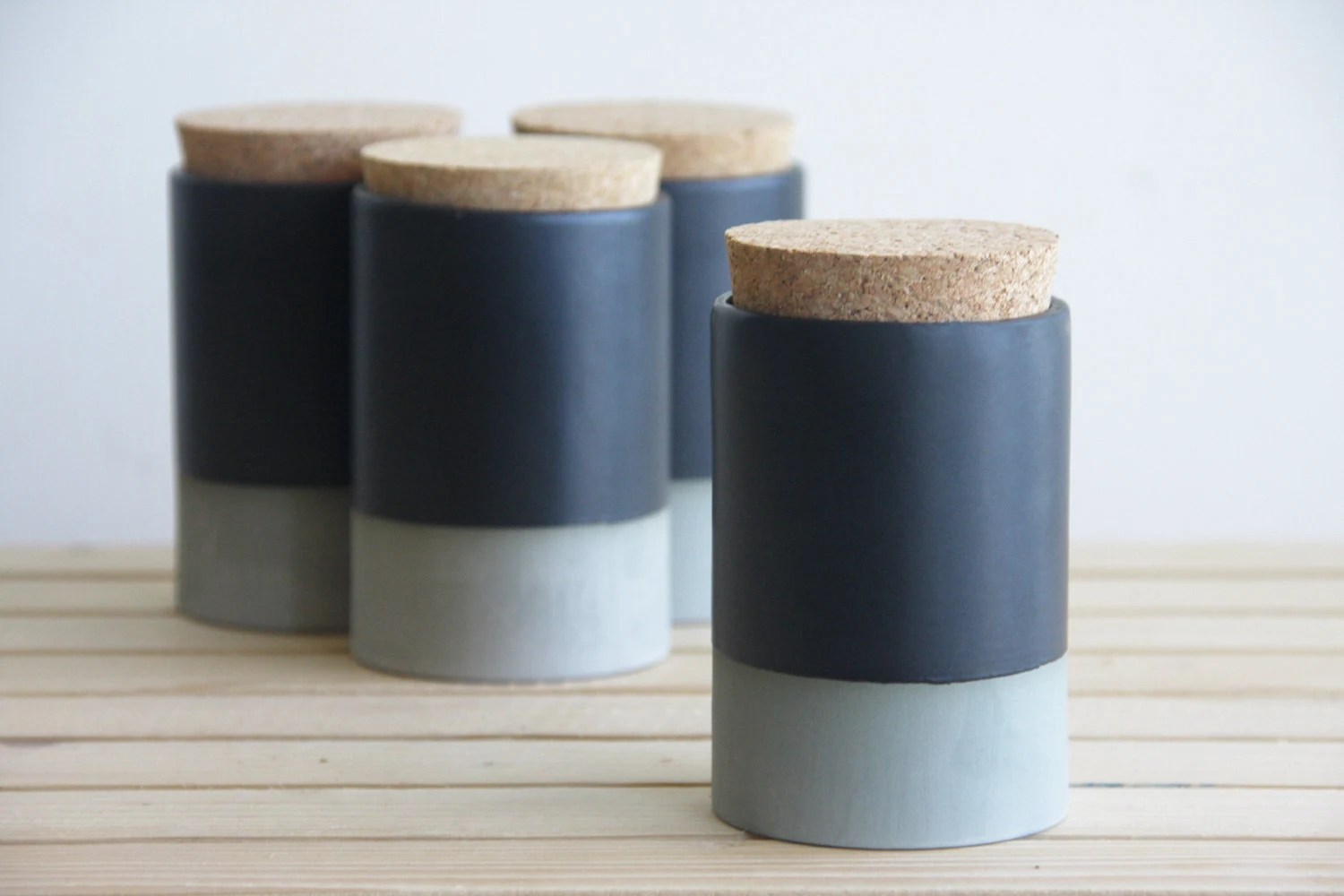 Small Ceramic Jars With Lids Small Ceramic Jar With Cork Lid In Gray With Black Matte