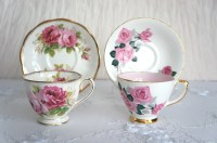 Vintage English Tea Cups and Saucers Set of 2 by VintageFlares