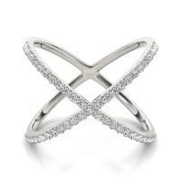 14kt Gold Diamond Criss Cross X Ring 14K White Diamond Ring
