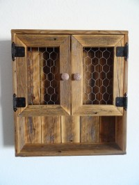 Reclaimed Wood Curio Wall Cabinet Chicken Wire Doors