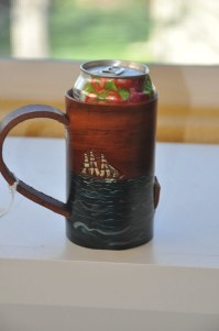 Soda or Beer can holder with ships and ocean
