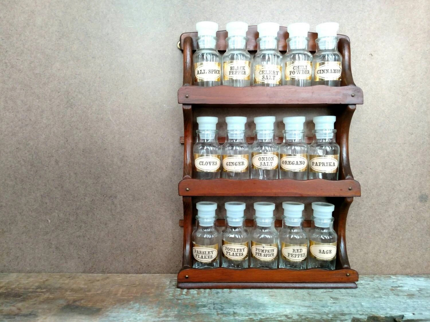 Vintage Wooden Hanging Spice Rack With Fifteen Labeled Glass