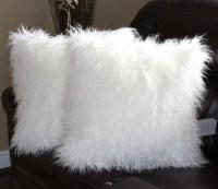Mongolian Pillow. Mongolian White Faux Fur In Throw Pillow ...