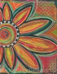 boho flower wall art bohemian flower art colorful flower