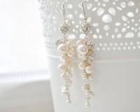 Wedding Earrings Vintage Pearl and Crystal Bridal Earrings