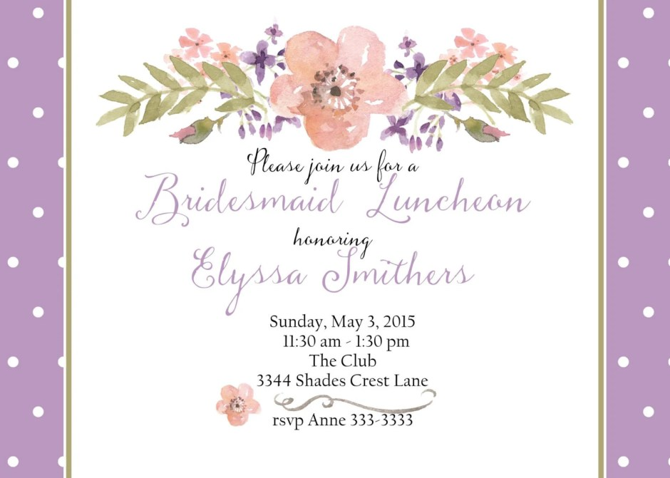 Bridal luncheon invitatio...