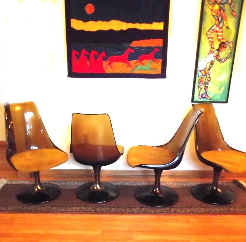 reserved 4 kate 4 swivel chairs swivel kitchen chairs Swivel Chairs Chromcraft Vintage 60s Lucite Dining Chairs zoom