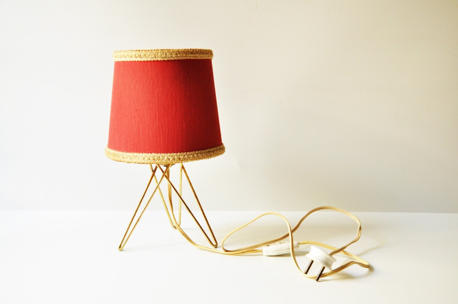 Red Bedside Lamps Midcentury Bedside Table Lamp Red Tripod Lamp By