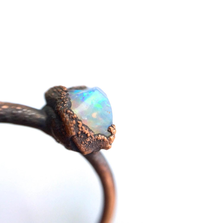 opal engagement ring blue opal wedding rings Opal engagement ring Raw opal stone ring Rough opal ring Australian opal Jewelry Fire opal jewellery Gemstone stacking ring