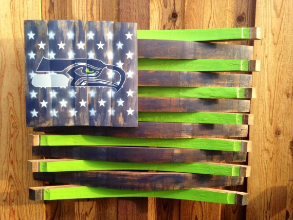 Seattle Seahawks Football Wine Barrel Flag