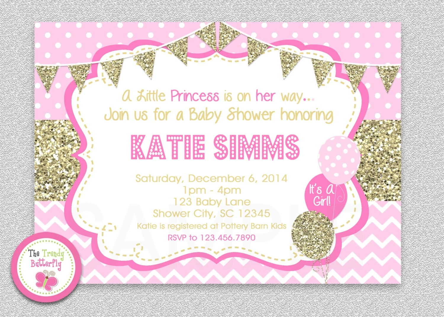 Pink and Gold Baby Shower Invitation , Chevron Baby Girl Shower - baby girl invitation