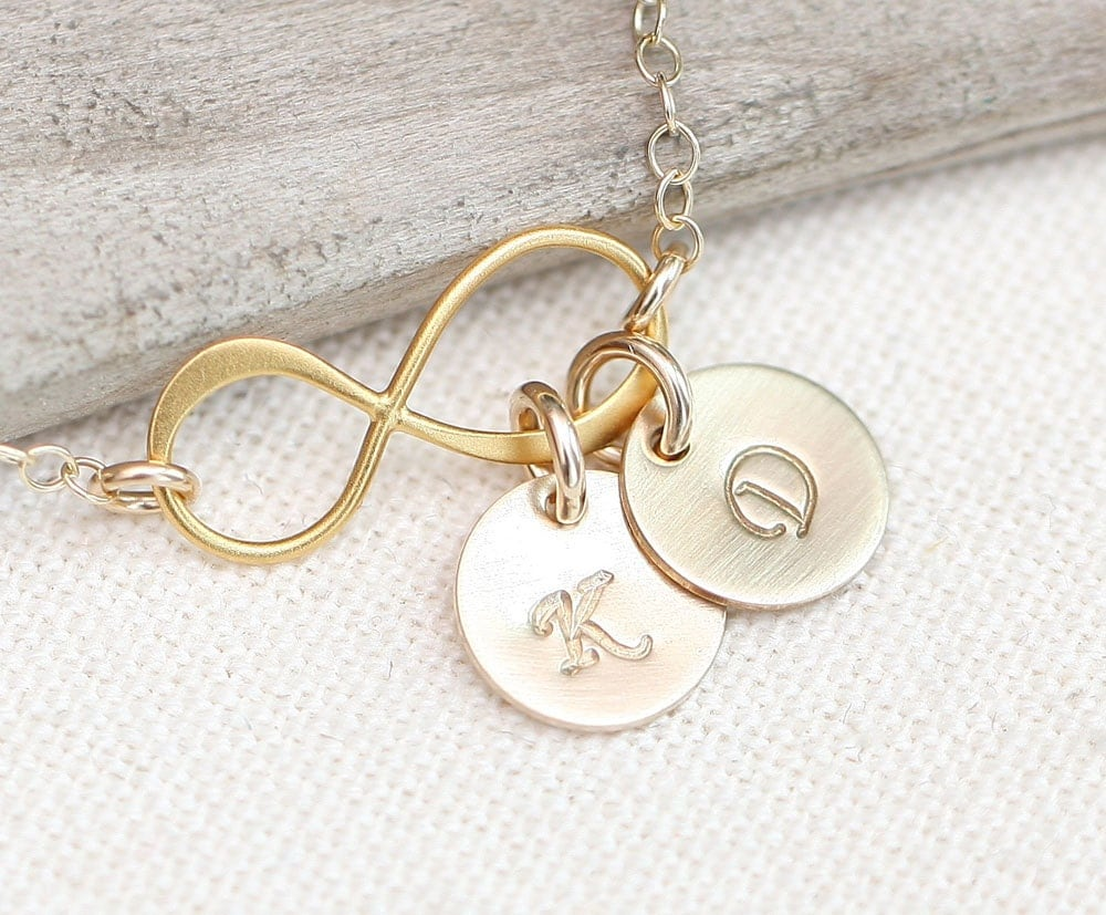 Personalized Infinity Necklace With Initials Gold Initial