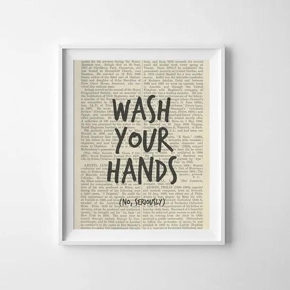 Funny Bathroom Art Print, Wash Your Hands, No Seriously, Printable
