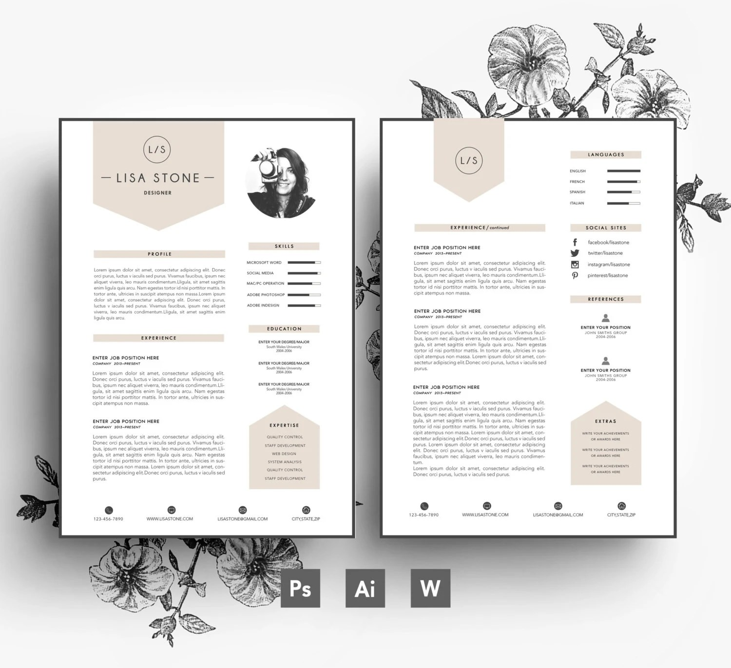 Modern template  Business car CV template Cover - resume template fill in