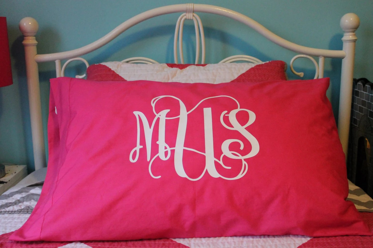 Monogrammed Pillowcase Personalized Pillowcase By