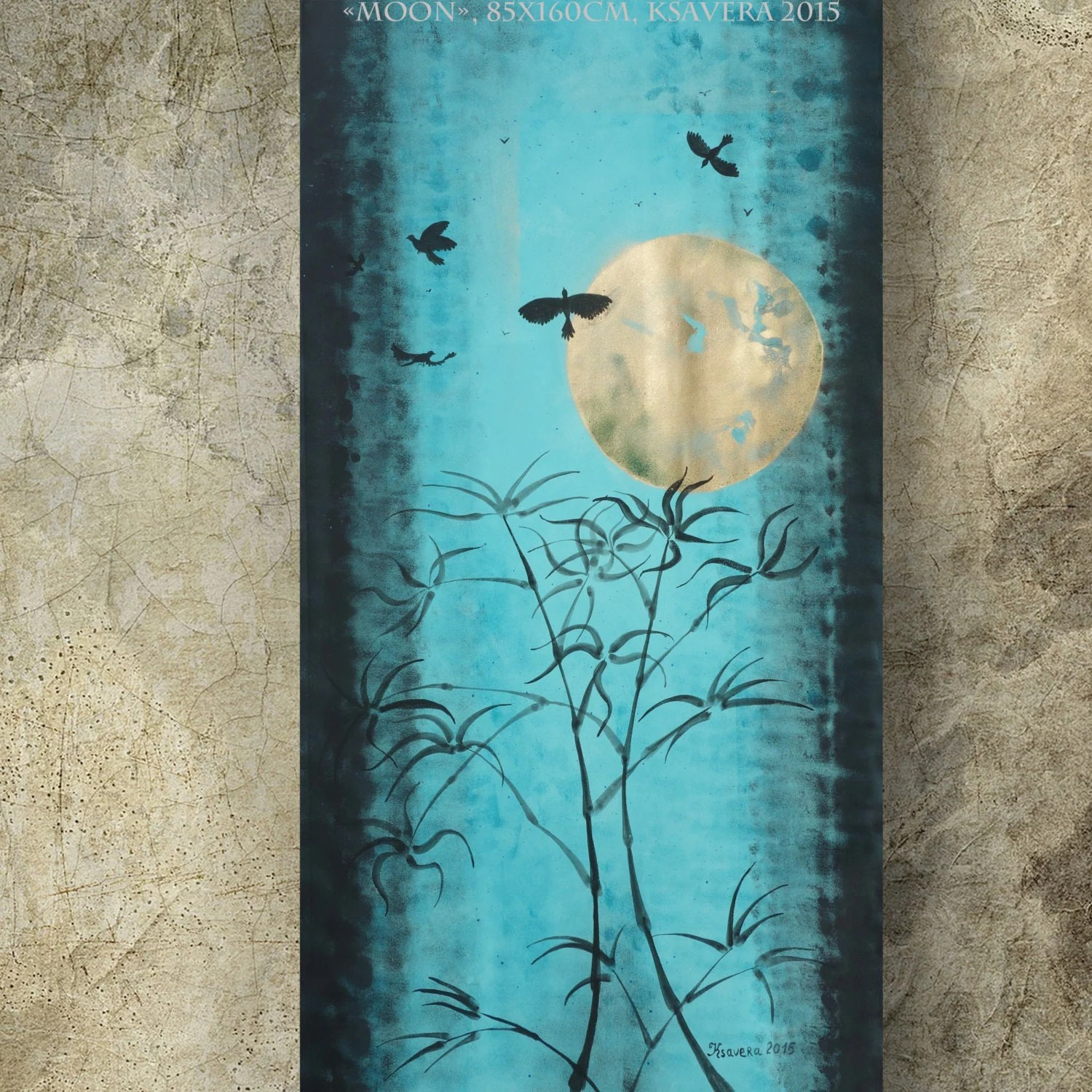 Large Vertical Paintings Zen Vertical Blue Painting Modern Art In Japanese By