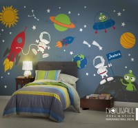 Space wall decal Planets Astronaut Boy Star Children