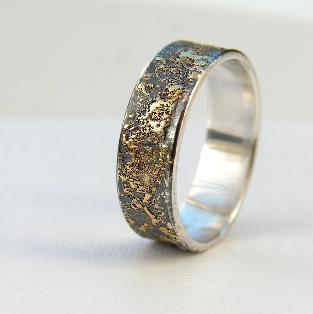 gold chaos rustic mens wedding ring in men wedding rings zoom