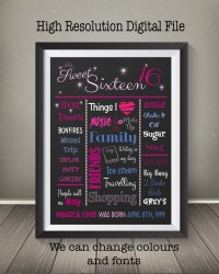 Sweet 16 Chalkboard Poster Design Pink & by ...
