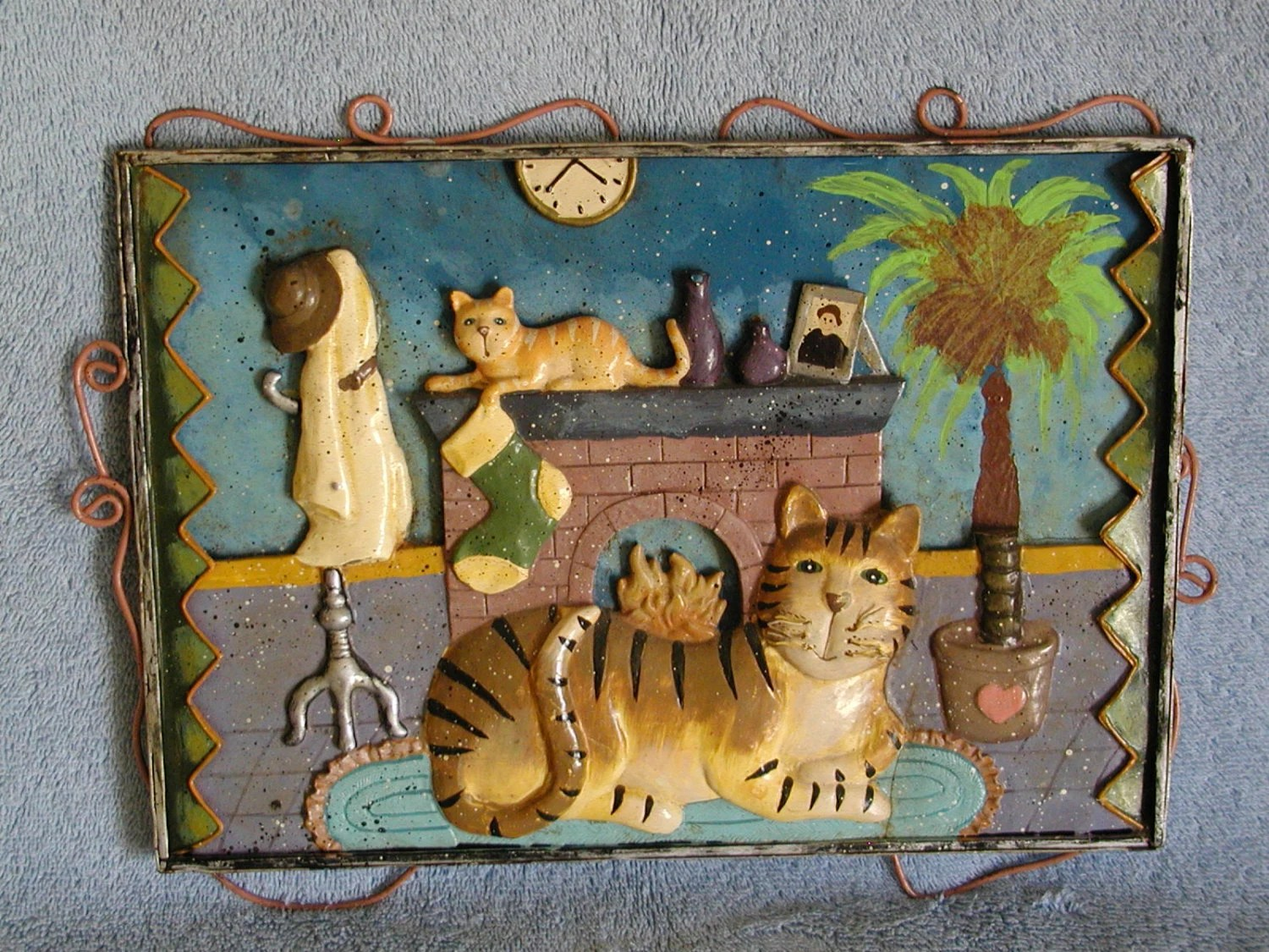 Cat Wall Art Metal Wall Hanging Cat Motif Metal Art
