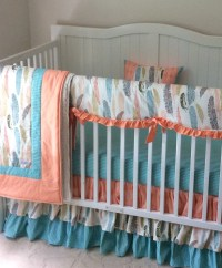 Crib Bedding Set in Peach and Teal Feathers by ...