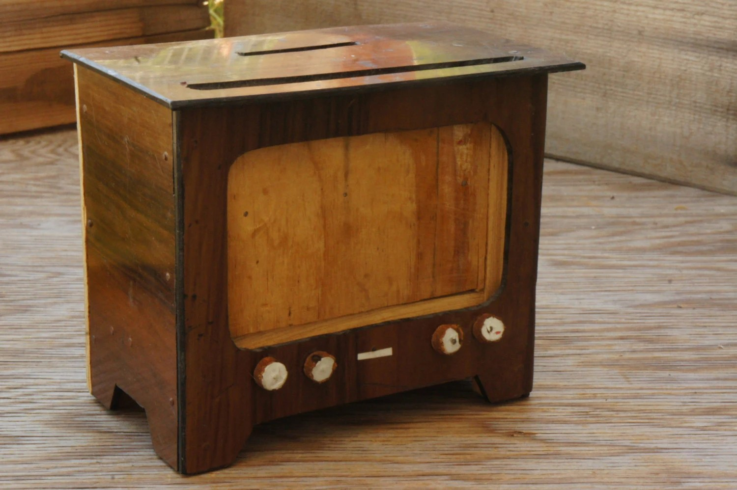 Vintage 50s 60s Wooden Tv Money Bank Picture Frame Mid Century - Tv Bank Vintage