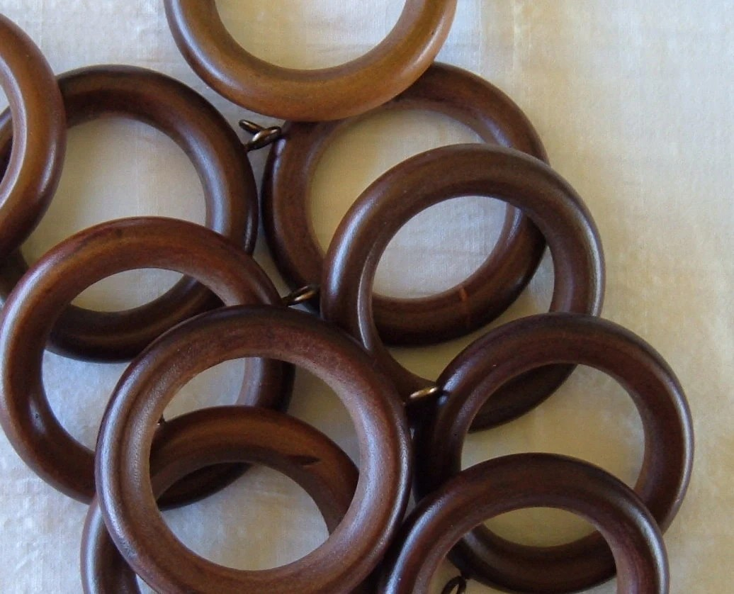 Dark Wood Curtain Rings 12 Wooden Curtain Rings Circles With Eyelet Screws
