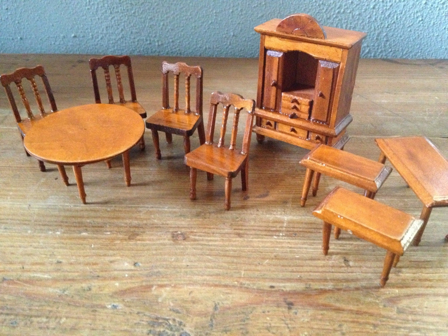 English Ng Sala Set English Doll House Furniture Mini Wood Dining Room Set