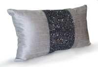 Grey beaded Lumbar Pillows Grey Silk Metallic Pillow cover