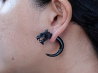 Black Dragon Fake Gauge Earrings Fake Gauge Horn Horn