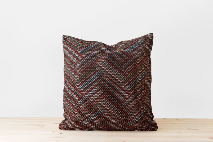Geometric Chevron Pillow Black White Red Teal Light Blue