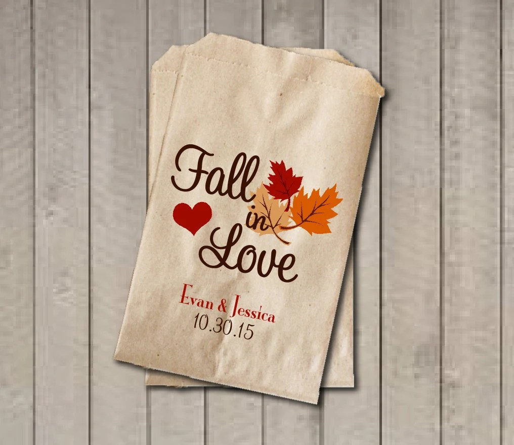 fall wedding favor fall wedding favors Wedding Favor Bags Fall in Love Favor Bags Personalized Wedding Candy Bags Fall Wedding Candy Buffet Bags Fall Colors