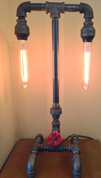 Industrial Iron Pipe Lamp Dual Socket and by LocalStrawberry