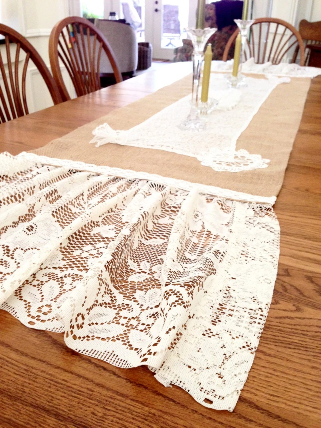Farmhouse Style Table Runners Burlap Table Runner Farmhouse Vintage Linens Lace Shabby Chic