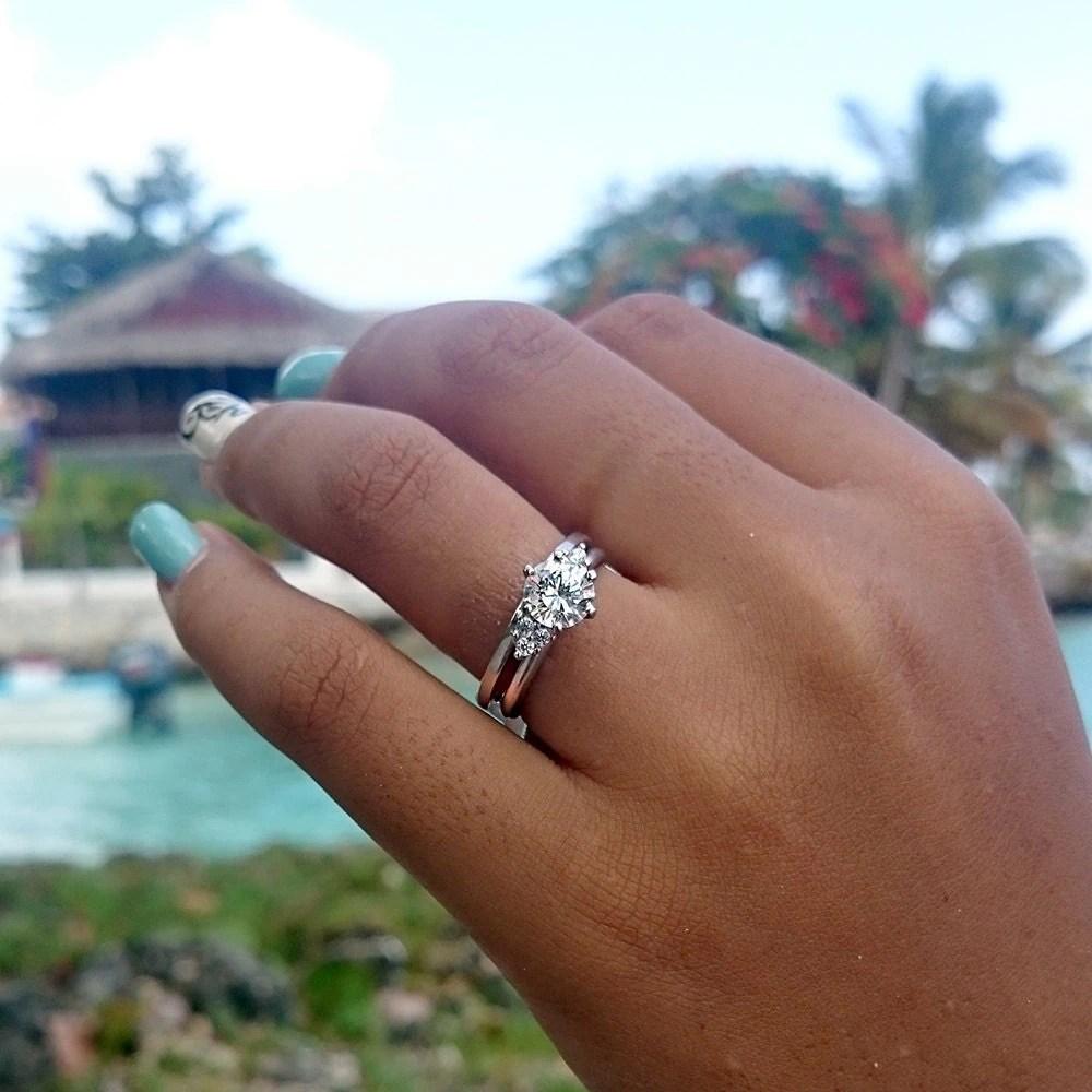 three stone ring wrap enhancer sterling wedding ring wrap zoom