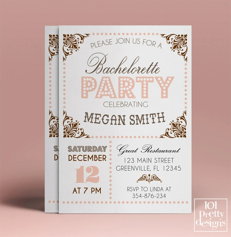 Bachelorette party invitation template, printable bachelorette