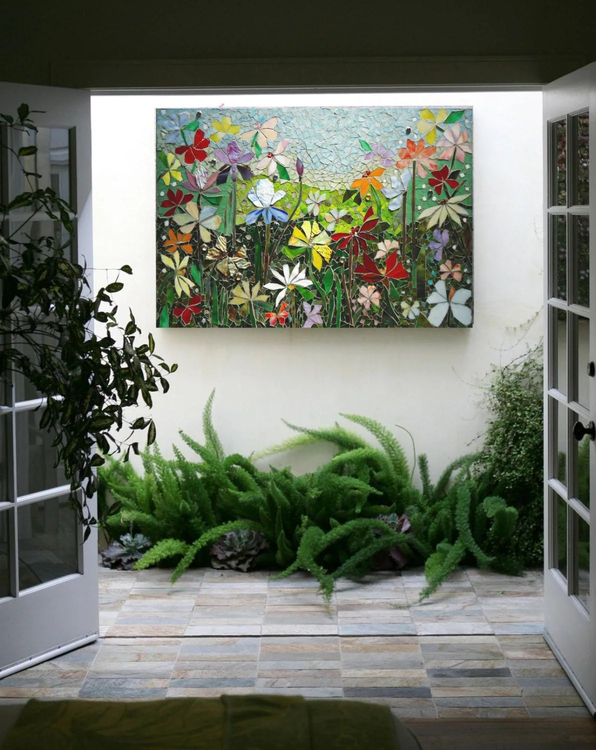 MOSAIC WALL ART stained glass wall decor floral garden indoor