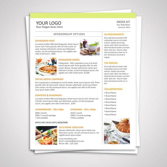 Blog Media Kit Template 02 Ad Rate Sheet Template Press - rate sheet template