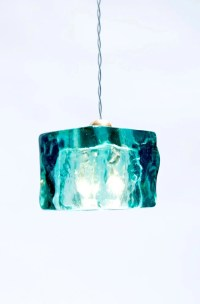 Turquoise Ceiling Pendant Light Cube / HandMade