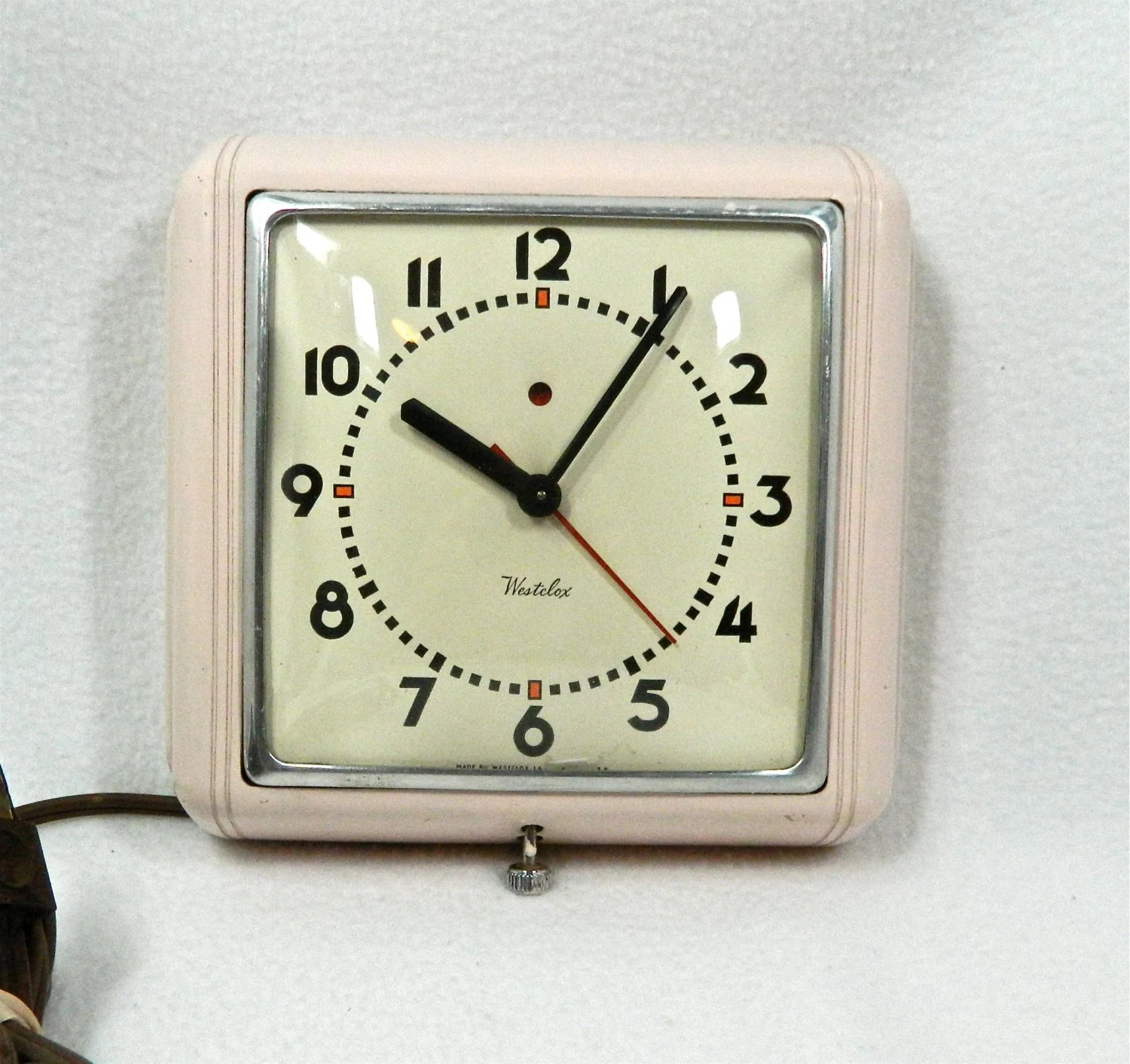 Atomic Wall Clocks Made In Usa Vintage Electric Wall Clock By Westclox Bold Numbers And Hands